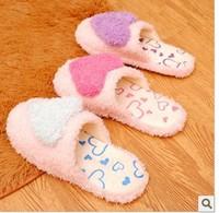 Plush love couple upset warm slippers of female money lovely indoor floor cotton drag