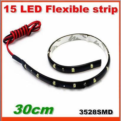 30cm 15LED 3528 SMD LED Strip Light LED flexible bar drl use 10pcs/lot Free shipping(China (Mainland))