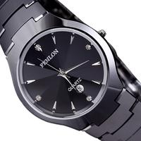 Refined tungsten steel couple watches for men and women, waterproof drop resistance seismic