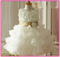 New Arrivals summer baby girls rose dresses children princess party dress elegant girl multilayer lace dance dress 5pcs/lot