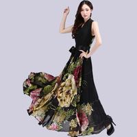 SD96 Free shipping Women's Flower print V-neck Sleeveless chiffon dress long Evening dress maxi dress