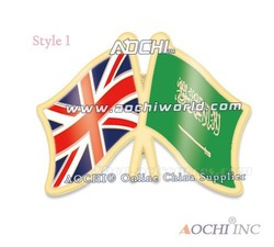 Free Shipping Newest Best Selling High Quality United Kingdom and Saudi Arabia Crossed Flags Lapel Pins(China (Mainland))