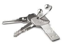 HOT selling Wholesale 20pcs/lot Promotional gift Logo engraving Metal Key Shape Usb Stick 2GB 4GB 8GB With Plastic Box