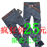 2012 mercerizing jeans straight coating denim long trousers pants male