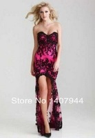 FREE shipping new style sexy black lace front short long back sweetheart neckline evening dress