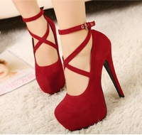 2014 Cross strap women's shoes 14cm high-heeled pumps red wedding shoes super high platform bridal shoes free shipping
