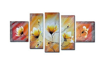 100% Handmade High End Large Red and Yellow Floral Oil Painting Wall Decoration Canvas Art-