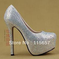 2013 New arrived Rhinestone wedding shoes platform 14cm high-heeled shoes crystal red bridal evening shoes silver/black/gold