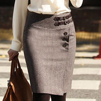 Winter short woolen bust skirt slim hip skirt medium female short skirt