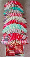 Free Shipping 40pcs/lot assorted colors & flower designs Chinese hand fans wedding favors and gifts