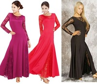 Elegant lady long sleeve Ballroom dancewear fashion women Lace perform dress high quality Waltz compet costume mix color&amp;size