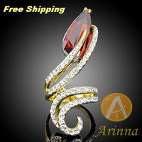 Arinna  Ruby Clear Crystal Snake Yellow Gold GP Cocktail Ring  Made with Genuine SWA ELEMENT Austrian Crystal  J1263