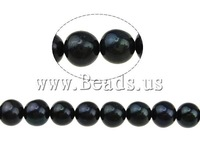 Natural Round Cultured Freshwater Pearl Beads, A grade, black, 7-8mm, Hole:Approx 0.8mm, Sold per 15 Inch- Strand