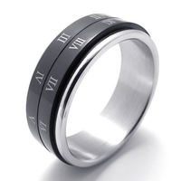 free shipping Punk rock accessories Fashion stainless steel black  rotation rings man ring 75491