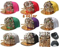 Free Shipping 2013 New Style, Leopard head flat brimmed hat, Punk rivets hip-hop cap, Snapback caps, 8 color