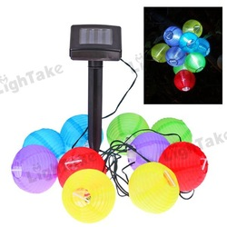 Outdoor Solar Powered 10pcs LED Mini Colorful Lantern String Lighting For Holiday Parties(China (Mainland))