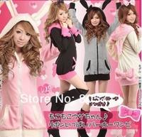 Japanese Style Cartoon Rabbit Ears Hoodies With Hooded Sweatshirt Bow Women Clothing Zipper Cardigan Fleece 2014 Autumn Winter