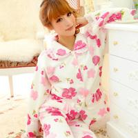 Sleepwear coral fleece autumn and winter women's noble flower lace coral fleece long-sleeve sleep set lounge