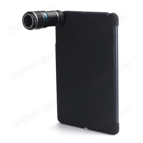 Optical 12X Zoom Telescope Camera Lens Kit with Back Hard Skin Case Cover Protector Guard for Apple iPad Mini free shipping(China (Mainland))
