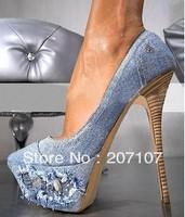 Latest arrival woman denim High heels platform shoes drop shipping