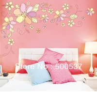 JM7183AB New removable vinyl wall stickers 2pcs/set Colorful flowers home decor Giant wall decals JM7183AB Free ship100pcs mixed