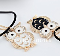Free shiping Owl jewelry necklace N98 Gold tone owl charm fashionable 30pc/lot +Organza bags