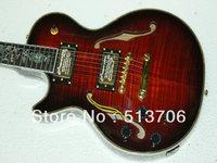 Custom Shop Sunburst Hollow Left Hand Jazz Guitar Flower Fingerboard Wholesale Free Shipping