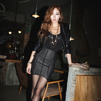 2014 New Arrival Tops Fashions Female Leather Short Skirt Leather Culottes Asymmetrical skirt Slim Hip Free Shipping
