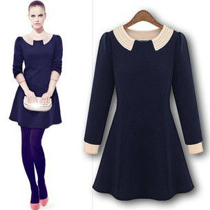 2013 New fashion style Europe Pearl Turn-down Collar Long Sleeve women dress,Ladies Mini dresses,Preppy Style dress,LJ260
