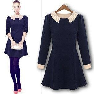 2013 New fashion style Europe Pearl Turn-down Collar Long Sleeve women dress,Ladies Mini dresses,Preppy Style dress,LJ260