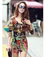 HOT dropship best selling elegant women mini dresses fashion night club V-neck designed dancing dress club wears 1 color D0081
