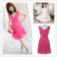 Spring Summer New Fashion Korea Sweet Sexy Womens V-Neck Chiffon One-piece Dress Matching Slim Ladies Pink dress DR10