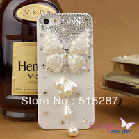 Free shipping,new arrival phone Case Covers for iphone 5/5G,caystal bling rhinestone,elegant butterfly with pearl tassel