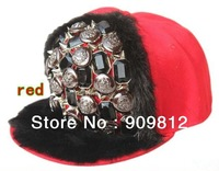 Free Shipping 2013 New Style, Button mink sewing flat brimmed hat, Punk hip-hop cap, Rivets Snapback caps, 10 color