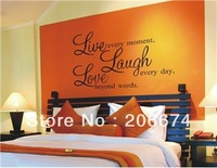 New 'Live Laugh Love' PVC Wall Decal Stickers (29.5*19.5cm) (Black)+free shipping