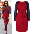 Hot Promotion New Year 2013 Women Colorblock Patchwork Casual Dresses Long Sleeve Celebrity Fashion Dresses SS12626