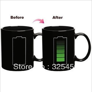 Wholesell Creative Battery color changing mug with energy saving iron heat sensitive temperature coffee tea cup, novelty gife
