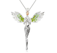 Charming necklace angel wing with full crystal pendant necklace multi colors free shipping