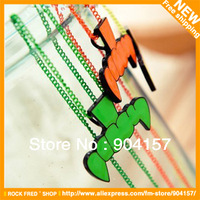 Necklace.Fluorescent color.Teeth shape.Long style.Alloy.Vintage.Punk.Unisex.Free shipping.12 pcs/lot.2013 New