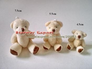 100pcs 7.5cm Mini Joint Teddy Bear Bare Joint Bear Doll Cell Phone Pendant Cartoon Plush Stuffed Toy Gifts
