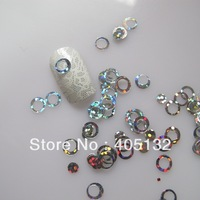 GD3-1 Free Shipping Wholesale 100g/bag Cute Silver Circle Glitter Nail art Glitter Pieces Nail art decoration