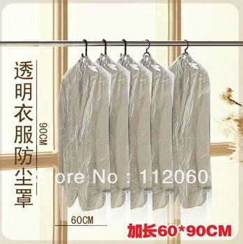 Free shipping wholesale 100 pieces/lot transparent garment dust bag/ dust cover / suit , clothes cover