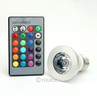 Wholesale - 1set 3W E27 Farbwechsel RGB LED Licht Lampe Birne 110-220V IR Fernbedienung without memory 80187