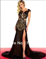 Sexy Popular New V Neck Cap Sleeve Silky Chiffon Lace Unique Long Split Red Black Mermaid Zuhair Murad Evening Dresses 2013