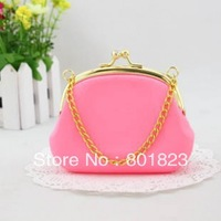 Free shipping by China post-7 mix colors bags,candy color purse with gold chain(color same as picture),best-selling