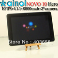10'' IPS tablet pc Ainol Hero Novo 10 Android 4.1 Tablet PC  HD Screen 10.1 Inch 16GB Dual Camera
