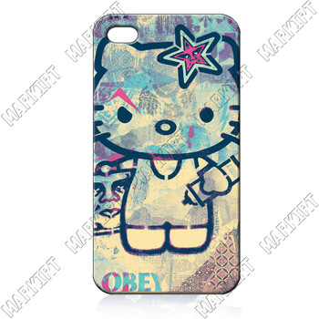 OBEY hello kitty ILC2520    10 pcs/lot case cover for iphone 4 4s 4th generation wholesale retail free shipping for bulk order