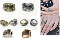 Wholesale - 6pcs Punk Classic Pretty Girls Antique Bronze Silvery Fashion Vintage Retro Owl Shape Ring 261218 261219
