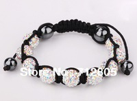 Shamballa Jewelry Wholesale New Shamballa Bracelet 10mm White AB Micro Pave CZ Disco Ball Bead Shamballa Bracelet Free Shipping