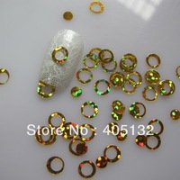 GD3-2 Free Shipping Wholesale 100g/bag Cute Gold Circle Glitter Nail art Glitter Pieces Nail art decoration